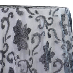 Fleur De Lis Table Linen in Charcoal