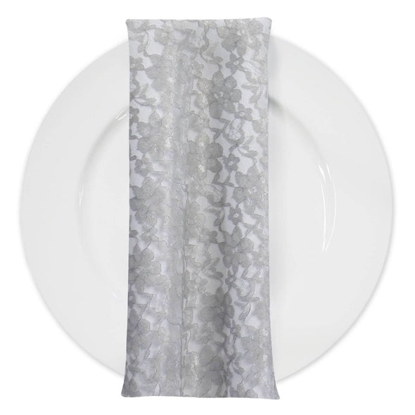Classic Lace (w/ Poly Lining) Table Napkin in Charcoal 1606