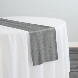 Imitation Burlap (100% Polyester) Table Runner in Charcoal