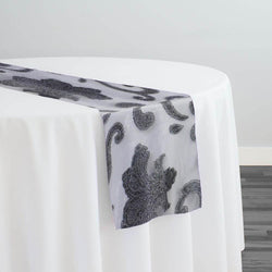 Fleur De Lis Table Runner in Charcoal