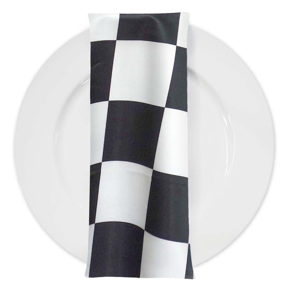 "1"" & 4"" Lamour Checker Print Table Napkin in 4""x4"" Checker"