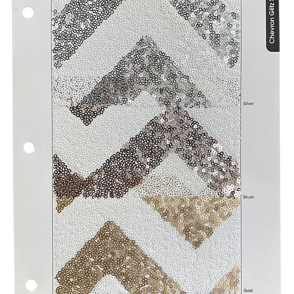 Chevron Glitz Sequins Table Runner in Silver