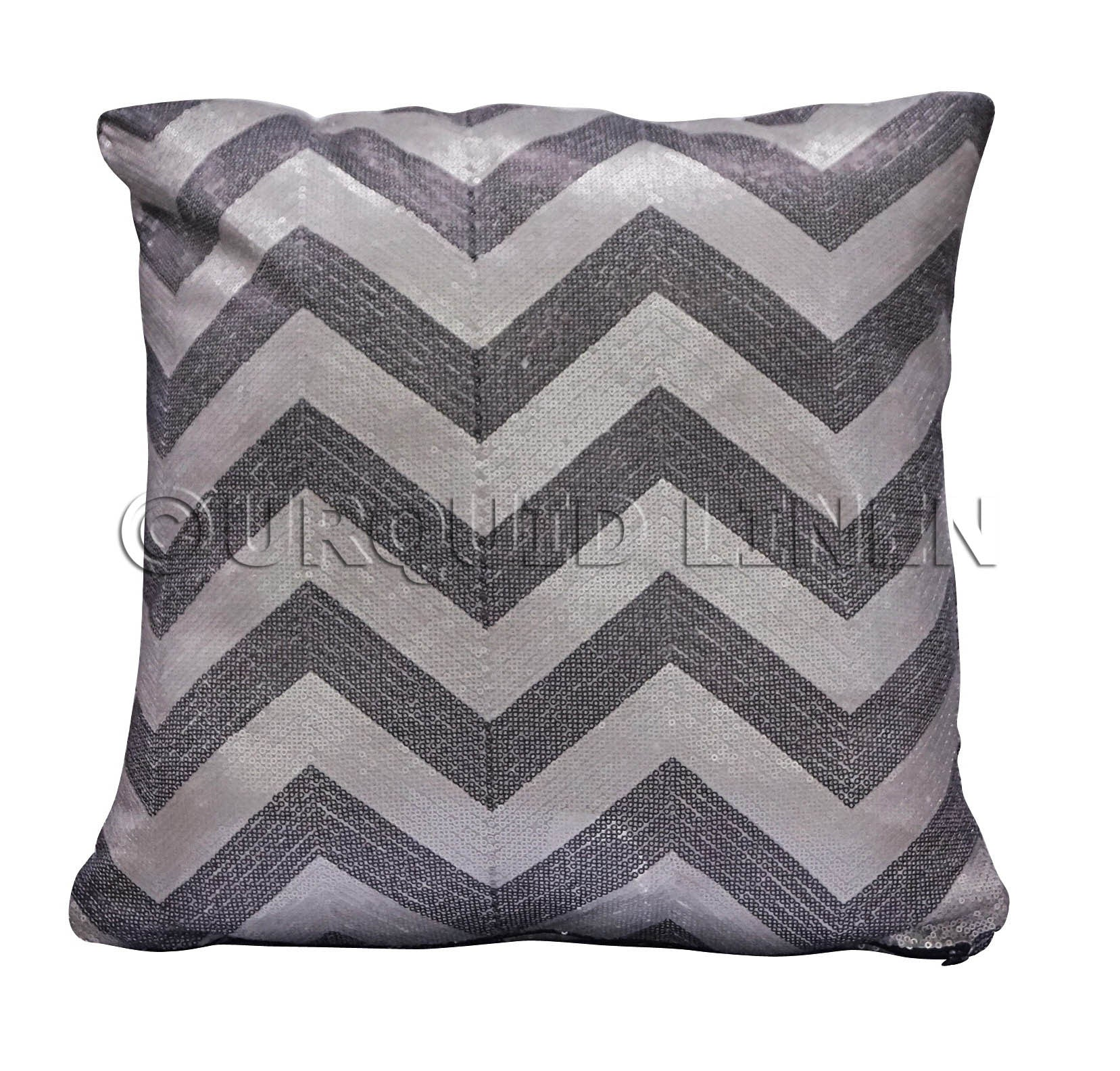 Chevron Sequins Throw Pillow