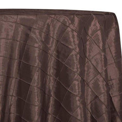 "2"" Pintuck Taffeta Table Linens in Chocolate 036"