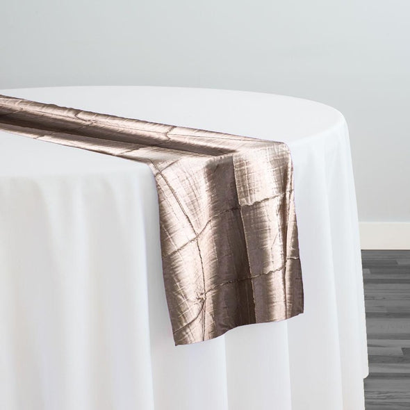 "4"" Pintuck Taffeta Table Runner in Chocolate"