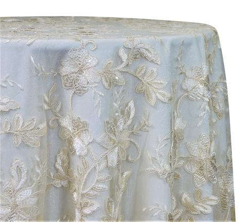 "Claire Lace - Ivory 120"" Round Wedding Tablecloth"