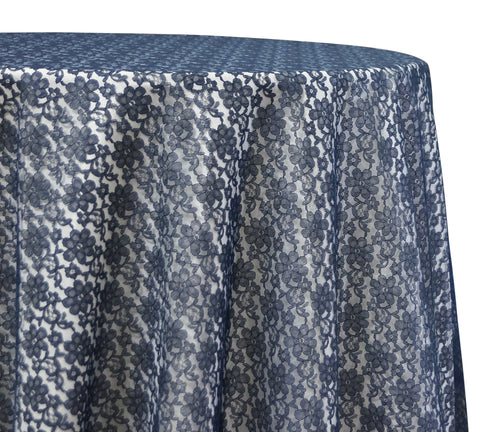 "Classic Lace - Navy 120"" Round Wedding Tablecloth"