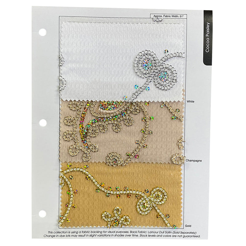 Cocoa Paisley Embroidery Table Runner in Silver and White