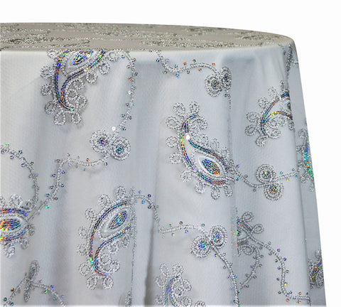 "Cocoa Paisley Embroidery - Silver/White 120"" Round Wedding Tablecloth"