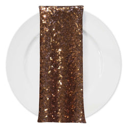 Glitz Sequins (w/ Poly Lining) Table Napkin in Copper