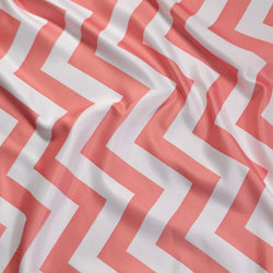 Chevron Print (Lamour) Table Runner in Coral and White