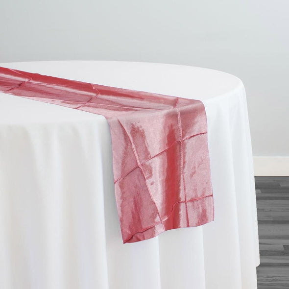 "4"" Pintuck Taffeta Table Runner in Coral 131"