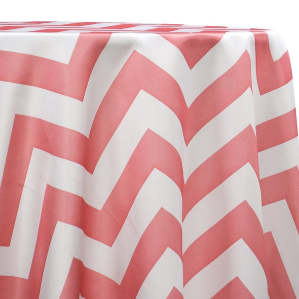 Chevron Print (Lamour) Table Linen in Coral and White