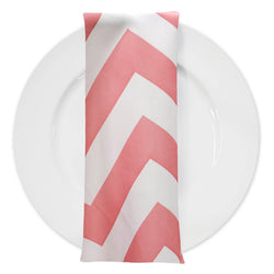 Chevron Print Table Napkin in Coral and White