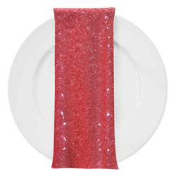 Glitz Sequins (w/ Poly Lining) Table Napkin in Coral