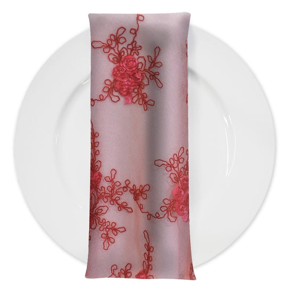 Baby Rose Embroidery (w/ Poly Lining) Table Napkin in Coral