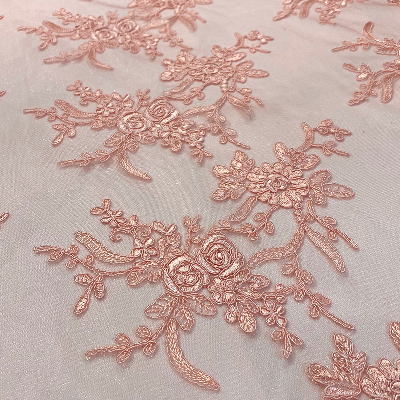 Laylani Lace (w/ Poly Lining) Table Napkin in Coral
