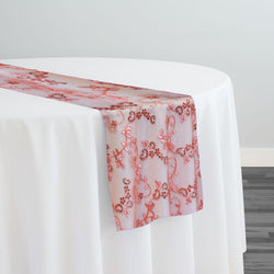 Basil Leaf Embroidery Table Runner in Coral