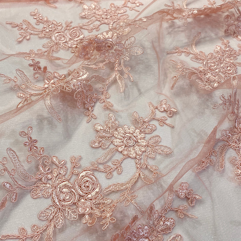 Laylani Lace Wholesale Fabric in Coral