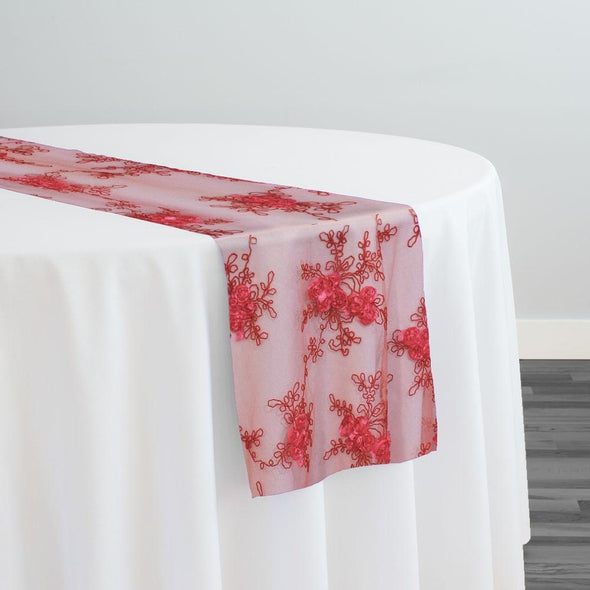 Baby Rose Embroidery Table Runner in Coral