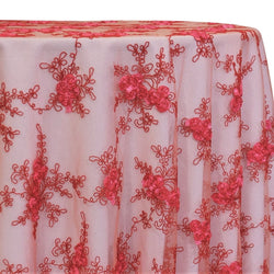 Baby Rose Embroidery Table Linen in Coral