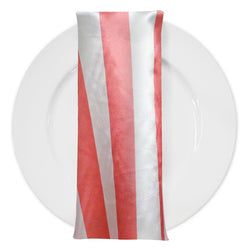 "2"" Satin Stripe Table Napkin in White and Coral"