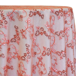 Basil Leaf Embroidery Table Linen in Coral