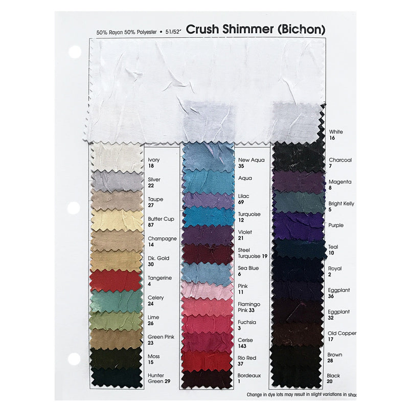 Crush Satin/Shimmer Combo Color Card