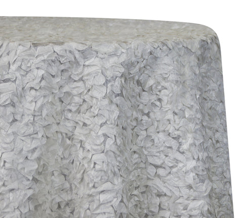 "Curly Satin - White 120"" Round Wedding Tablecloth"