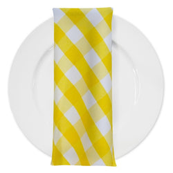 Polyester Checker (Gingham) Table Napkin in Dark Yellow