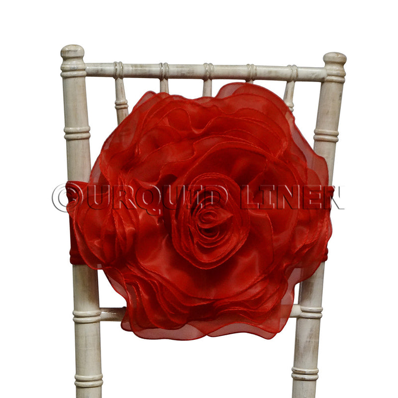Organza Rosette Bow & Band - Red
