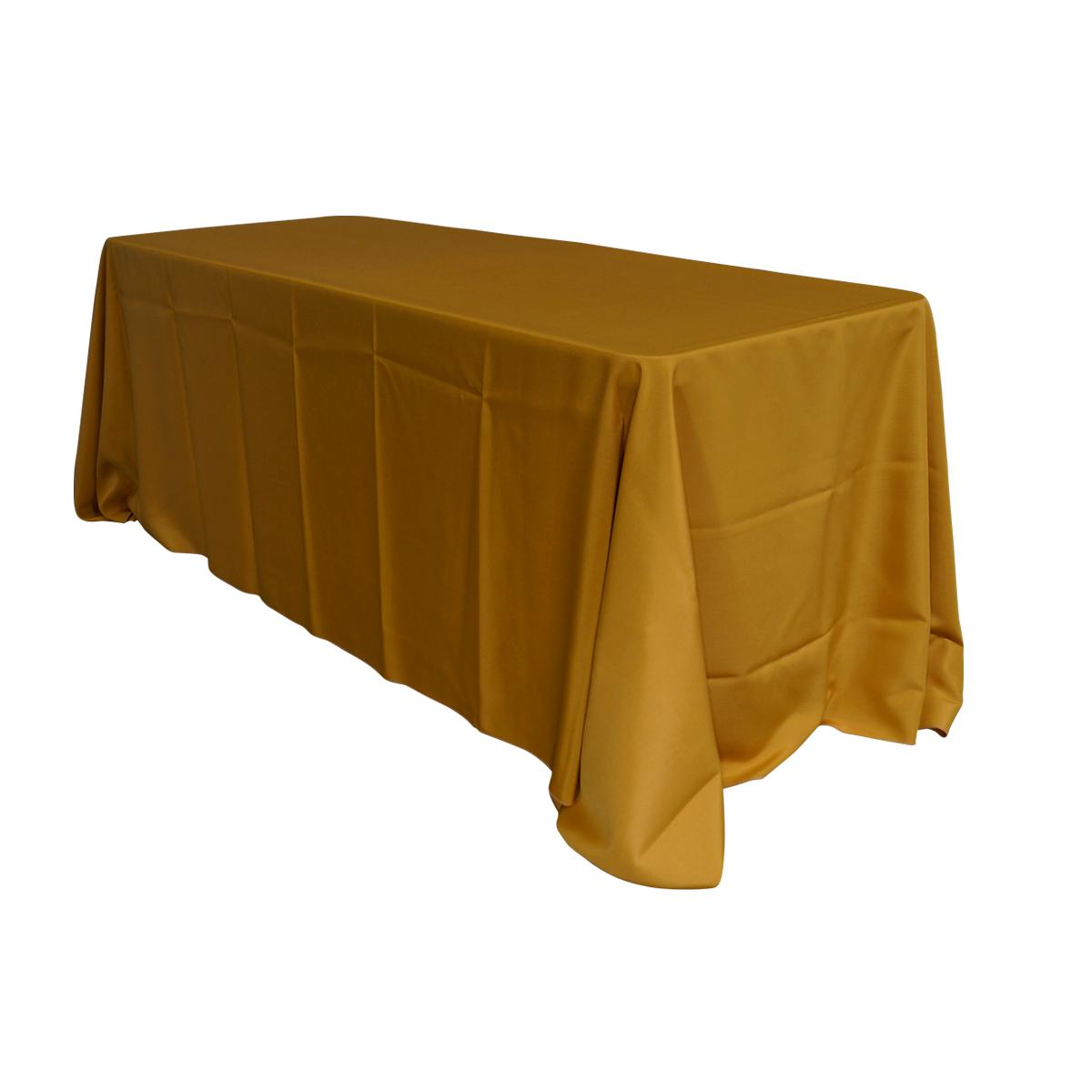 "Economy Polyester Poplin 90""x156"" Rectangular Tablecloth - Gold"