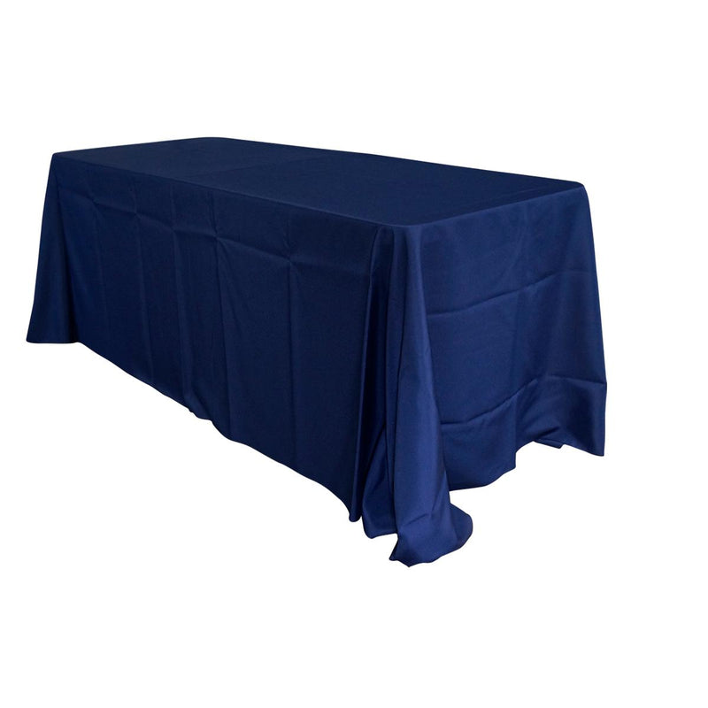 "Economy Polyester Poplin 90""x132"" Rectangular Tablecloth - Navy"