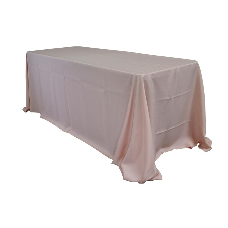 "Economy Polyester Poplin 90""x132"" Rectangular Tablecloth - Blush"