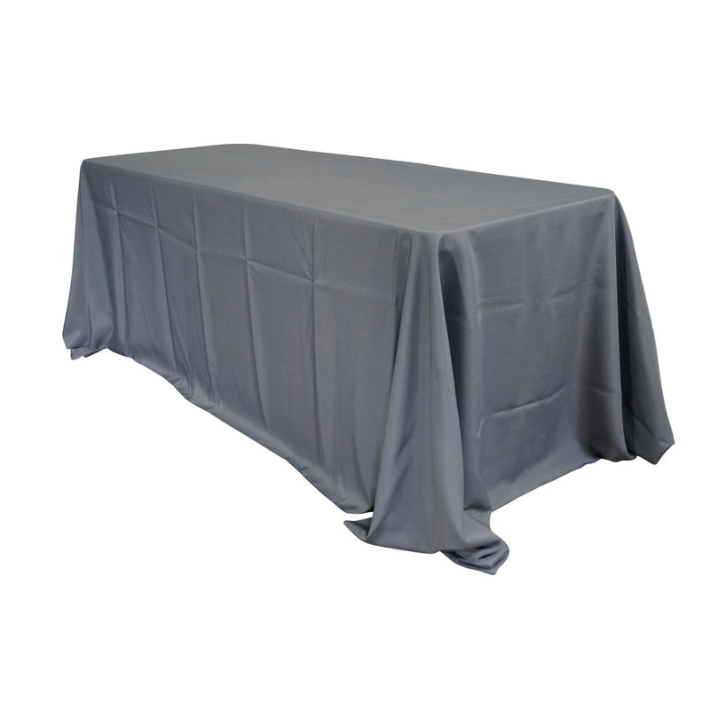 "Economy Polyester Poplin 90""x156"" Rectangular Tablecloth - Grey"
