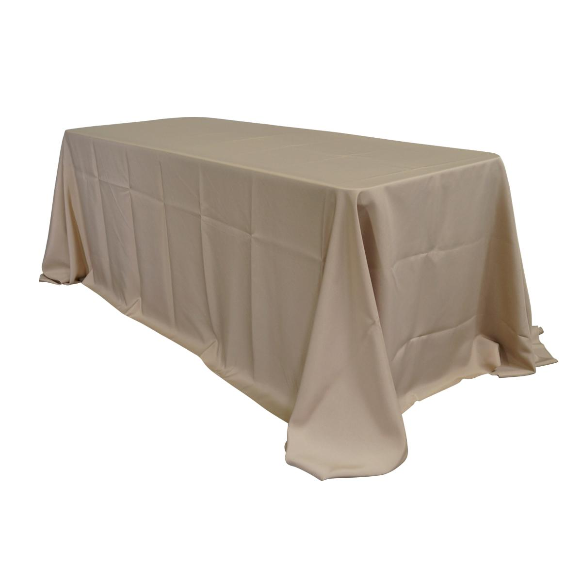 "Economy Polyester Poplin 90""x132"" Rectangular Tablecloth - Champagne"