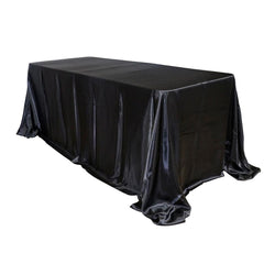 "Economy Shiny Satin 90""x156"" Rectangular Tablecloth - Black"