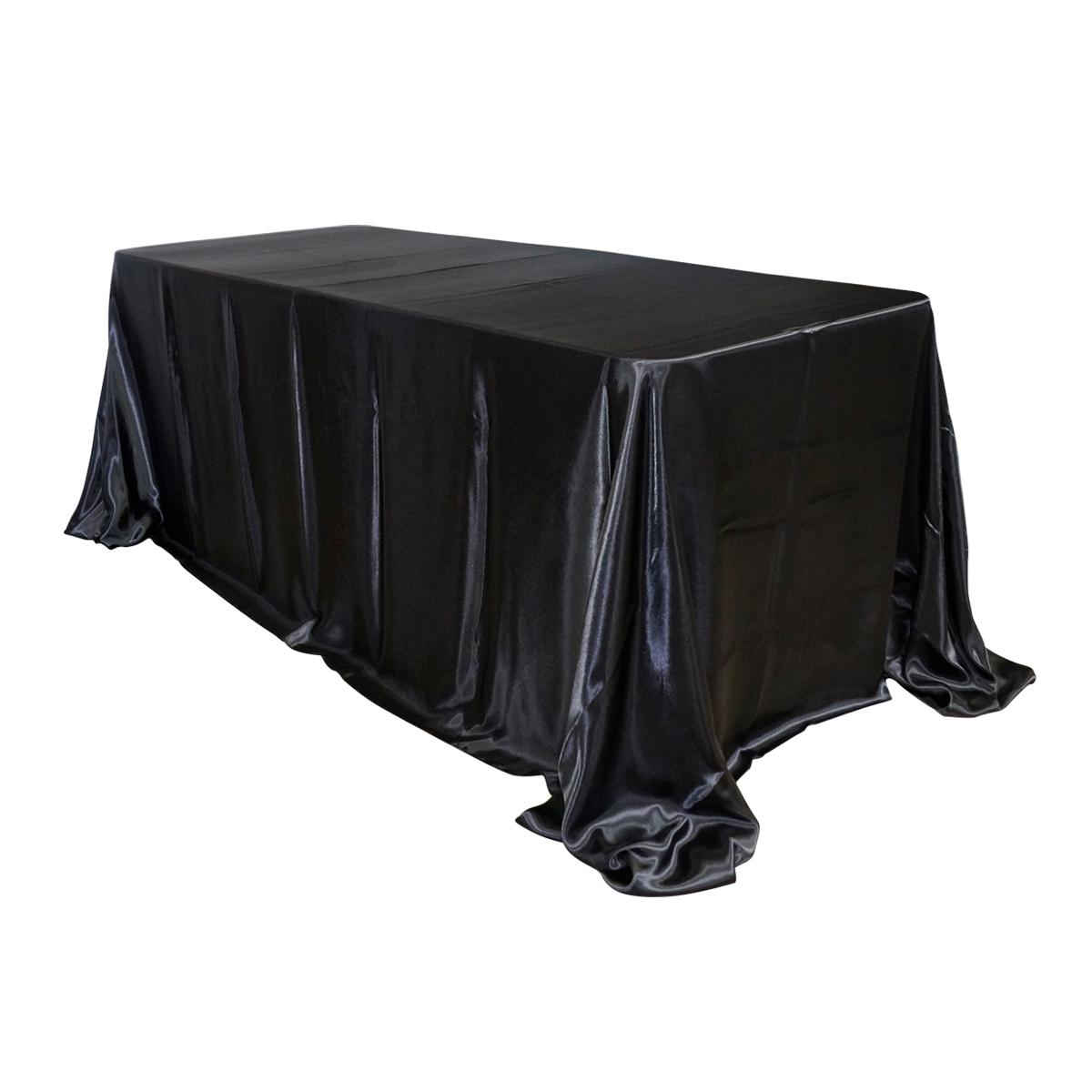 "Economy Shiny Satin 90""x132"" Rectangular Tablecloth - Black"