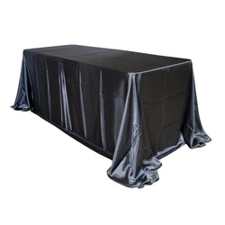 "Economy Shiny Satin 90""x156"" Rectangular Tablecloth - Charcoal"