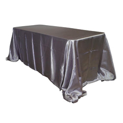 "Economy Shiny Satin 90""x156"" Rectangular Tablecloth - Silver"