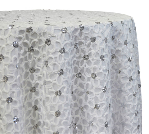 "Daisy Sequins - White 120"" Round Wedding Tablecloth"
