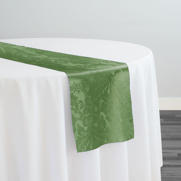 Damask Poly Table Runner in Sage 1152