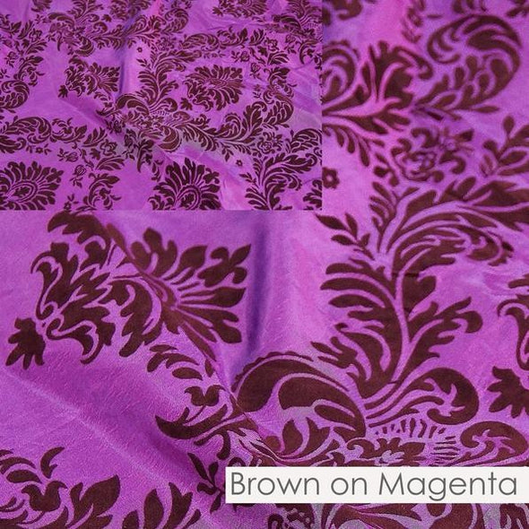 Damask Flocking Taffeta Table Runner in Brown on Magenta