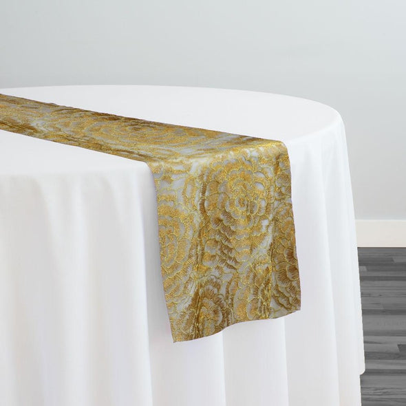 Metallic Rose Table Runner in DK Gold