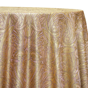 Paisley Jacquard Table Linen in Rose/Gold