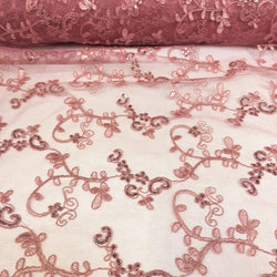 Basil Leaf Embroidery Table Runner in Dusty Rose