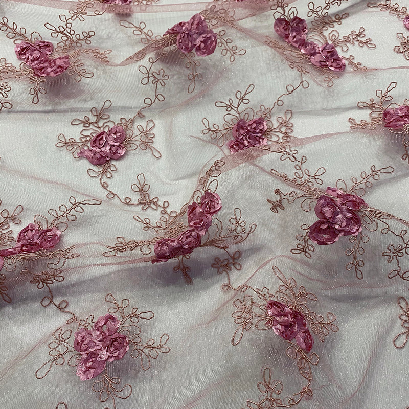 Baby Rose Embroidery Table Runner in Dusty Rose