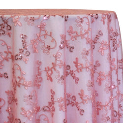 Basil Leaf Embroidery Table Linen in Dusty Rose