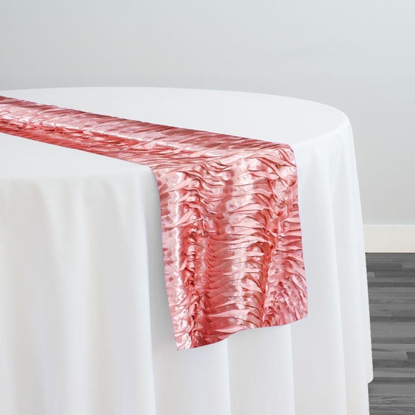 Austrian Wave Satin Table Runner in Dusty Rose