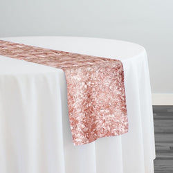Curly Satin Table Runner in Dusty Rose